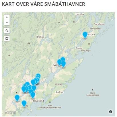 kart over havnene